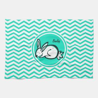 Conejo de conejito; Aguamarina Chevron verde Toallas De Cocina