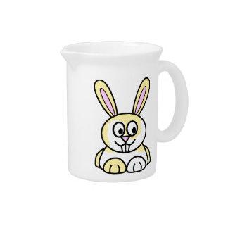 Conejo de conejito amarillo y blanco lindo jarra para bebida