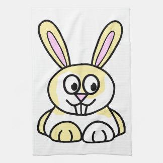 Conejo de conejito amarillo y blanco lindo toalla de mano
