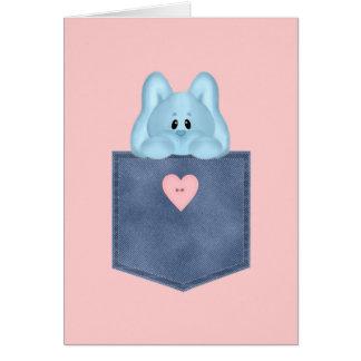 Conejo de conejito azul del bolsillo de Jean Tarjeta De Felicitación
