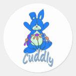 Conejo de conejito azul mimoso etiquetas redondas