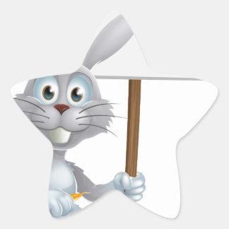 Conejo de conejito blanco con la muestra de la zan calcomanías forma de estrellaes personalizadas