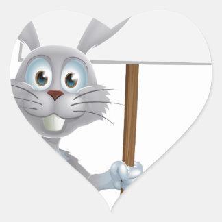 Conejo de conejito blanco con la muestra de la zan calcomanía corazón personalizadas