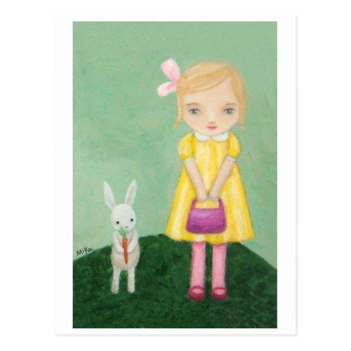 Conejo de conejito blanco con la tarjeta amarilla  postales