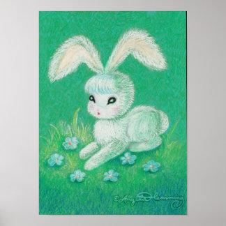 Conejo de conejito blanco con los oídos flojos póster