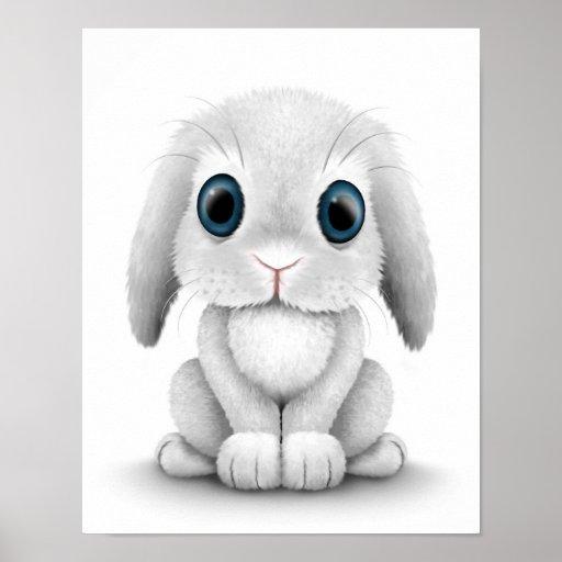 Conejo de conejito blanco lindo del bebé posters