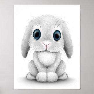 Conejo de conejito blanco lindo del bebé póster