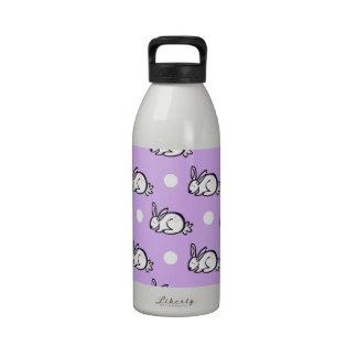 Conejo de conejito blanco; Púrpura y lunares de la Botellas De Beber