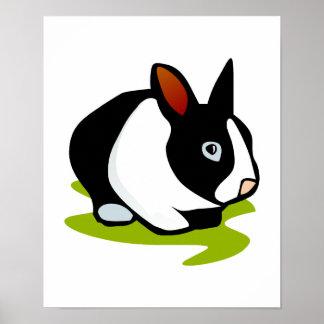 conejo de conejito blanco y negro impresiones