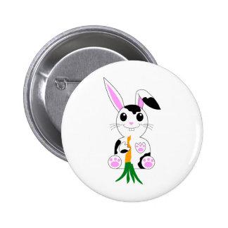 Conejo de conejito blanco y negro pins