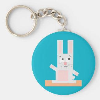 Conejo de conejito blanco y rosado formado llaveros personalizados