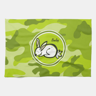 Conejo de conejito; camo verde claro, camuflaje toalla de mano