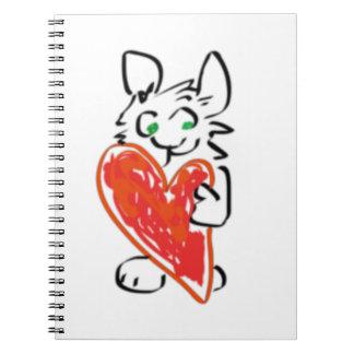 Conejo de conejito de ojos verdes con el corazón libros de apuntes