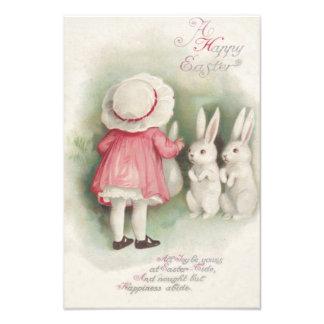 Conejo de conejito de pascua de la niña impresión fotográfica
