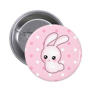 Conejo de conejito de pascua del rosa del animado  pin redondo 5 cm