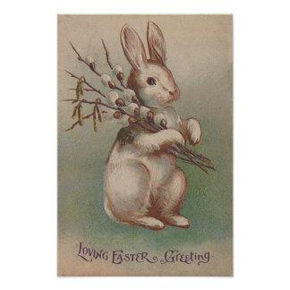 Conejo de conejito de pascua del vintage cojinete