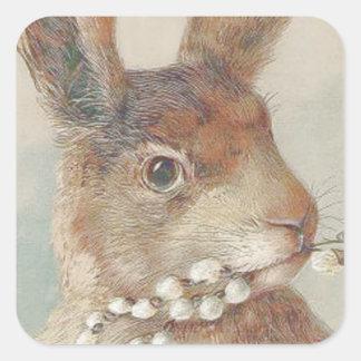 Conejo de conejito de pascua del vintage calcomanía cuadrada