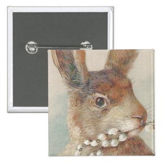Conejo de conejito de pascua del vintage pin cuadrado