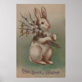 Conejo de conejito de pascua del vintage póster
