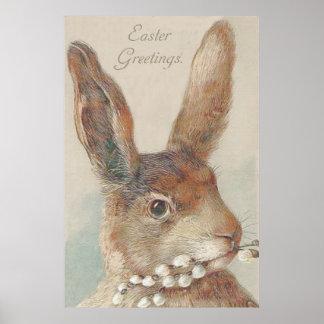 Conejo de conejito de pascua del vintage posters
