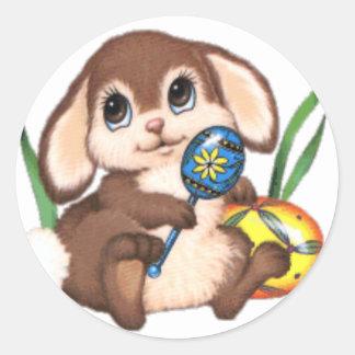 Conejo de conejito de pascua pegatina redonda