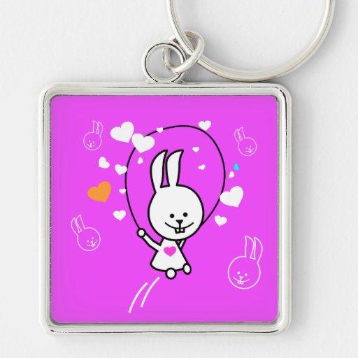 Conejo de conejito de salto - rosa llavero cuadrado plateado