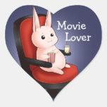 Conejo de conejito del cine de Kawaii Pegatinas De Corazon Personalizadas