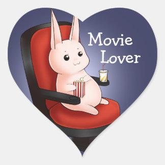 Conejo de conejito del cine de Kawaii Pegatina En Forma De Corazón