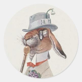 Conejo de conejito divertido del vintage - regalo pegatina redonda
