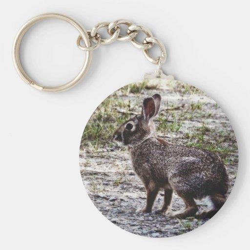 Conejo de conejito en el salvaje llavero redondo tipo pin