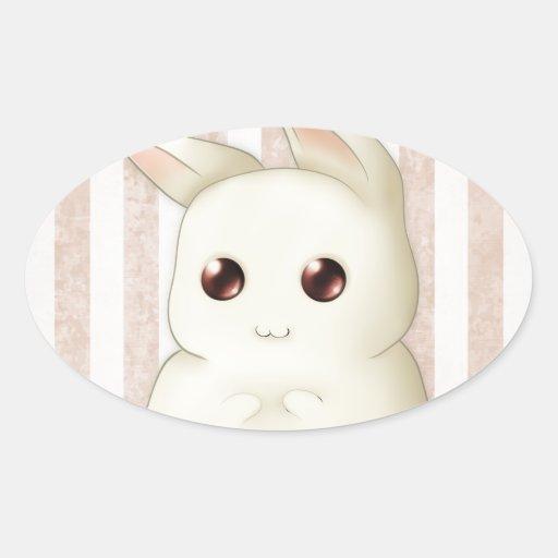 Conejo de conejito hinchado lindo de Kawaii Colcomanias Oval Personalizadas