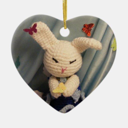 Conejo de conejito lindo de Amigurumi Adorno Navideño De Cerámica En Forma De Corazón