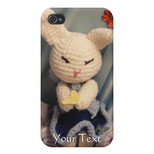 Conejo de conejito lindo de Amigurumi iPhone 4 Protectores