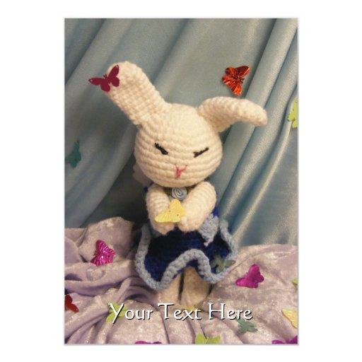 """Conejo de conejito lindo de Amigurumi Invitación 5"""" X 7"""""""
