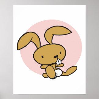 conejo de conejito lindo del bebé poster