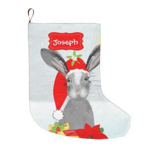 Conejo de conejito lindo del día de fiesta del bota navideña grande
