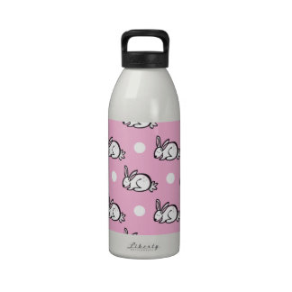 Conejo de conejito lindo; Lunares rosados y blanco Botellas De Agua Reutilizables