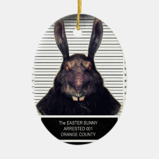 Conejo de conejito malvado de pascua A SOLAS Adorno Navideño Ovalado De Cerámica