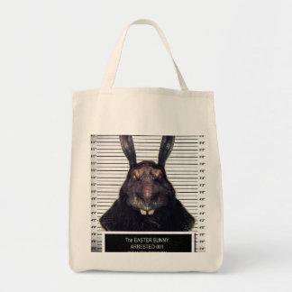 Conejo de conejito malvado de pascua A SOLAS Bolsa Tela Para La Compra