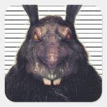 Conejo de conejito malvado de pascua A SOLAS Calcomanía Cuadradase