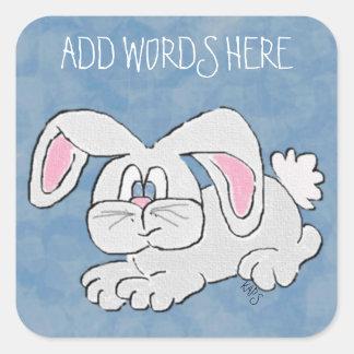 Conejo de conejito calcomania cuadradas personalizada