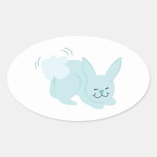 Conejo de conejito pegatina ovalada
