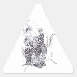 Conejo de conejito pegatina triangular