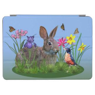 Conejo de conejito, petirrojo, y flores, cubierta de iPad air