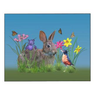Conejo de conejito, petirrojo, y flores impresión en madera
