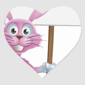 Conejo de conejito rosado con la zanahoria y la mu pegatinas corazon personalizadas