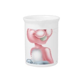 Conejo de conejito rosado de pascua del dibujo jarra