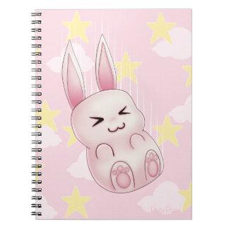 Conejo de conejito rosado lindo de Kawaii que cae  Libreta