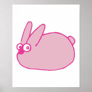 conejo de conejito rosado lindo del dibujo animado impresiones