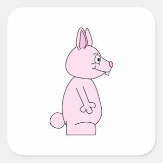 Conejo de conejito rosado lindo pegatinas cuadradases personalizadas